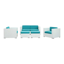 Modway - Malibu 5 Piece Sofa Set in White Turquoise - On the border of the Pacific Ocean lies a place of great peace and quietude. Surrounded by silence, Malibu's soft all-weather turquoise fabric cushions and white rattan base take you to that place, one relaxing and conducive for interaction with others. Abstract past experiences morph into future discoveries with a warm set that helps expand your horizons.