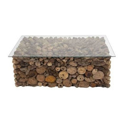 """BZBZ37753 - Rectangle Shaped Bakau Coffee Table in Glass and Wood Make - Rectangle Shaped Bakau Coffee Table in Glass and Wood Make. The Bakau coffee table has a glass table top which is easy to clean. It comes with a dimension of 63""""W x 23""""D x 37""""H. Some assembly may be required."""