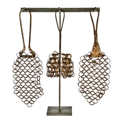 "Salvatecture Studio - Set of Three Antique Chain Mail Pot Scrubbers on Stand #3 - Set of three antique chain mail pot scrubbers displayed on a reclaimed iron stand.  12""h x 12""w x 3""d. Due to the limited nature and age of vintage accessories, this item is non-returnable."