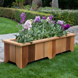 Wood Country Rectangle Cedar Wood Pocatello Planter - Set of 2 - Give your plant collection the perfect home with the Pocatello Cedar Planter - Set of 2. These cedar planters work well for bordering an outdoor patio or deck and can be used side by side or separately to make the most of your space. Available in your choice of sizes they have a long spacious design that offers the maximum amount of planting area. To use simply fill with soil and plant directly inside or set pre-potted plants inside. Finished in an all-weather stain; bottoms are pre-drilled with drainage holes. Choose from various sizes; you will receive two planters in the size you select.SIZE DIMENSIONS:39 in. Planter - Small Dimensions: 39L x 15W x 13H inchesInside Dimensions: 35L x 11.5W x 7.5H inchesWeight: 25 lbs.50 in. Planter - Narrow Medium Dimensions: 50L x 15W x 13H inchesInside Dimensions: 46L x 11.5W x 7.5H inchesWeight: 29 lbs.50 in. Planter - Wide Large Dimensions: 50L x 20W x 13H inchesInside Dimensions: 46L x 16.5W x 7.5H inchesWeight: 31 lbs.50 in. Planter - Long Extra Large Dimensions: 50L x 20W x 17H inchesInside Dimensions: 46L x 16.5W x 10.5H inchesWeight: 37 lbs.About Cedar WoodCedar wood is lightweight and resistant to both cracking and moisture rot. The oils of this resilient wood guard against insect attack and decay and their distinctive aroma acts as a mild insect repellant. Cedar is a dependable choice for outdoor furniture either as a finished or unfinished wood. Over time unfinished cedar left outdoors will weather to a silvery gray patina. This natural process does not compromise the strength or integrity of the wood.About Wood CountryFine handcrafted outdoor furnishings are what Wood Country is all about. They manufacture a complete line of outdoor furniture and accessories made of clear kiln-dried Western Red Cedar. Each piece is hand-crafted and finished with a high quality penetrating oil weather stain. Wood Country is about offering their customers choices allowing them to create their own custom environment perfectly suited to enjoy their leisure time. Customers can choose the styles they like based on family need budget or just personal tastes. Wood Country uses the best materials hardware fabric and finishes they can find. Quality materials combined with Wood Country's talent means you're getting some of the best outdoor furniture available in today's market.