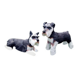 Craft-Tex - Kennel Hand Painted Schnauzer - 2 Pc Set - Award winning designs. Exact reproduction of a Master Carvers original. Hand cast in a variety of mediums to insure the exact detailing of the original wood carving. Crafted by North Carolina artists with attention to detail. Made in USA. Made of pecan shell resin. 1-Year warranty. Standing: 18 in. L x 7 in. W x 14.25 in. H (11 lbs.). Lying: 19 in. L x 7 in. W x 10.5 in. H (11 lbs.)