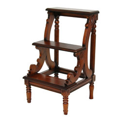 Oriental Furniture - European Three Tiered Step Table - This beautiful and practical 19th century style step stool has been hand carved from solid poplar hardwood. Elegant details include routed, beveled edges on each step, with cut scroll supports for the top and second step, as well as lathe turned legs with spiral block corners. Use it for hard to reach shelves, or as an elegant display for photos, plants, or cherished -objects.