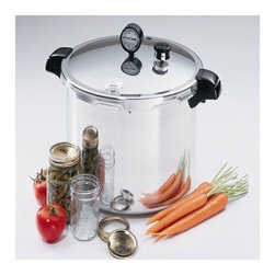 "Presto - 7-Quart Pressure Cooker and Canner - The Presto Pressure Canner and Cooker allows you to can your low-acid vegetables, meat and fish safely, and according to the U.S.D.A. this canner also doubles as a water bath to can fruits, preserves and make jams and jellies. It's polished aluminum material is warp-resistant and suitable for use on regular and smooth top ranges. Make great canned vegetables and fruit that are safe to eat and made fresh at home with this Presto Pressure Canner/Cooker! Features: -Easy-to-read gauge automatically registers a complete range of processing temperatures.-Air vent/cover lock allows pressure to build up only when the cover is closed properly and prevents the cover from opening until pressure is safely reduced.-Presto Pressure Canners also double as water bath canners for preserving fruits, jams, jellies, pickles and salsas.-Includes cooking/canning rack and complete instruction and recipe book.-Canners are constructed of extra-strong, warp-resistant aluminum and are suitable for use on regular and smooth-top ranges.-Distressed: No.-Capacity: 16.-Product Type: Pressure cooker.-Finish: Stainless Steel.-Powder Coated Finish: No.-Gloss Finish: No.-Base Material: Metal -Base Material Details: Stainless Steel, Aluminum..-Hardware Material: Stainless steel.-Scratch Resistant: No.-Shatterproof: No.-Heat Resistant: Yes.-Rust Resistant: Yes.-Stain Resistant: Yes.-Odor Resistant: Yes.-Non-Skid: No.-Non-Stick: Yes.-Electric: No.-Thermostat: No.-Pressure Indicator: Yes.-Pressure Regulator: Yes.-Self-Agitating: No.-Recipes Included: Yes.-Safety Valves: Yes.-Number of Safety Valves: 3.-Additional Safety Features: Over pressure plug, steam vent, pressure lock.-LED Display: No.-Mode Indicator Light: No.-Stovetop Safe: Yes -Stove Type Compatibility: Gas; Electric; Induction; Glass..-Maximum psi: 15 PSI.-Minimum psi: 10 PSI.-Maximum Temperature: 252 degrees.-Dishwasher Safe : Yes -Dishwasher Safe Components: Pot..-Fryer: No.-Portable: Yes.-Steamer Basket Included: No.-Trivet Included: No.-Helper Handle: Yes.-Timer: No.-Delay Function: No.-Programmable: No.-Lid Included: Yes -Lid Handle : Yes.-Lid Material : Aluminum.-Lid Finish : Polished Aluminum.-Leak Proof Lid: Yes.-Locking Lid: Yes.-Heat Resistant Lid: No..-Handles: Yes -Number of Handles : 2.-Handle Material: Plastic.-Handle Finish : Black.-Non-Slip Handle : Yes.-Heat Resistant Handles: Yes.-Ergonomic Handles: Yes.-Locking Handle: Yes..-Jars Included: No.-Number of Pint Jars Accommodated: 10.-Number of Quart Jars Accommodated: 7.-Canning Rack Included: Yes.-Low Noise: Yes.-Commercial Use: No.-Product Care: Wipe clean.-Collection: Presto.-Number of Items Included: 1.-Food Restrictions: Yes.-Minimum Temperature: 240 degrees.-Canning Jar Capacity: 7.-Recycled Content: No.-Eco-Friendly: No.Specifications: -NSF Certified: No.-BPA Free: Yes.-cUL Listed: Yes.-UL Listed: Yes.-CE Approved: No.-ETL Certified: No.-cETL Certified: No.-Energy Star Compliant: No.-FDA Compliant: Yes.Dimensions: -Overall Height - Top to Bottom (Size: 23 Quart): 12"".-Overall Width - Side to Side (Size: 23 Quart): 17.5"".-Overall Depth - Front to Back (Size: 23 Quart): 13.8"".-Inside Height (Size: 23 Quart): 11.6"".-Inside Diameter (Size: 23 Quart): 12.25"".-Overall Product Weight (Size: 23"