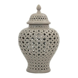 "11"" Taupe Pierced Jar - These vases look great when used on a table with a candle that glows through the open cutwork. Tier with other sizes for a more interesting display. Use indoors or out."