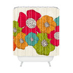 DENY Designs - Valentina Ramos Flowers Shower Curtain - Let's hear it for flower power! Start your morning with this colorful collection of posies and you'll be walking on air all day. Valentina Ramos' playful design is reproduced on machine-washable polyester, so it'll keep looking fresh, shower after shower.