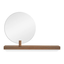 Blu Dot - Blu Dot Last Chance Mirror, Walnut - A pivotable round mirror perches on a solid wood shelf. Bracket mounted.