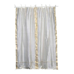 Indian Selections - Pair of Cream Tie Top Sheer Sari Curtains, 80 X 120 In. - Size of each curtain: 80 Inches wide X 120