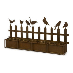 IMAX CORPORATION - Ardene Iron Bird Planter - The Ardene Iron Bird Planter holds seven four inch pots and is topped by the silhouette of a picket fence with songbirds perched atop. This is a great way to display potted plants or to plant an indoor herb garden in your kitchen. Find home furnishings, decor, and accessories from Posh Urban Furnishings. Beautiful, stylish furniture and decor that will brighten your home instantly. Shop modern, traditional, vintage, and world designs.