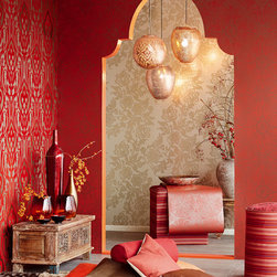 Yasmin - This intricate red wallpaper has an ornate Arabesque design, swirled with tree of life branches and the mystical beauty of a hamsa inspired henna tattoo.