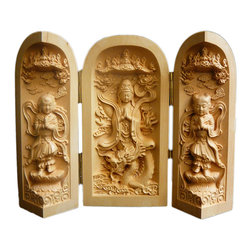 Golden Lotus - Chinese Folding Wood Carved Buddha Display Figure Hcs603-2 - This is a wooden carved small Buddha display figure which can be folded or opened with three statue figures relief carving inside.