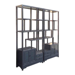 """Pair Gray Blue Chinese Treasure Curio Display Cabinets - This is a traditional Chinese style display , called """" eight treasure cabinet """" in Chinese term. Its variation in height and size on each shelf is good for displaying a variety of items. The refinished new lacquer is in gray blue color."""