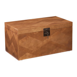 Upton Home - Upton Home Tifton Tavern Brown Coffee and Cocktail Trunk Table - Add a warm ambiance to your home with this tastefully eye-catching Upton Home table trunk. The unique and attractive zigzag patchwork creates a subtle pattern over the surface of this trunk table for a unique,rustic style.