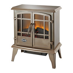 World Marketing - Comfort Glow Keystone Electric Stove, Bronze - Comfort Glow Keystone Stove Heater. Bronze- 4600 BTU's; double door opening; thermostat heat control; flame operates with or without heat; sturdy steel construction.