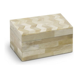 Sahara Decorative Box, Small - Perfect for storing jewelry and keepsakes, this box  is handcrafted by artisans from Recycled Wood and Bone.  Youell marvel at the delicate inlay work in a contemporary Beigeand cream chevron pattern thates polished to a lustrous sheen. Both functional and decorative, this versatile box will find a thousand uses in your home.  Wipe clean with a damp cloth. Colors; Cream and Beige. Dimensions; 6 L x 4 W x 3 H ''