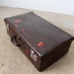 Vintage Dark Brown Suitcase - vintage suitcase