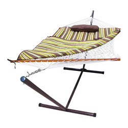"""Sunnydaze Decor - Desert Stripe Rope Hammock and Stand Combo with Pad and Pillow - Hammock Size:: 52""""W x 144""""L x 45""""H; 12 foot overall length; Hammock bed size: 52""""W x 76""""L"""