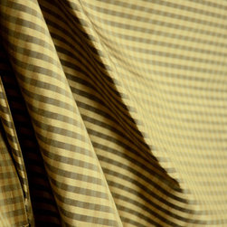 Avon - Silk Check Brown Beige Mini Check Drapery Fabric By The Yard - Black-brown and bronze colored silk is woven together to create a subtle gingham check to make Silk Check Brown.  Use this 100% Silk fabric for window treatments, bedding and pillows.