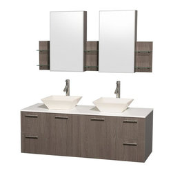 Wyndham Collection - Wall-Mount Double Bowl Vanity Set - Includes two sinks, white man-made stone top, two medicine cabinets with mirrors, drain assemblies and P-traps for easy assembly. Faucets not included. Square bone porcelain sinks. Two functional doors. Concealed soft close door hinges. Modern brushed chrome door pulls. Unique and striking contemporary design. Four functional drawers. Fully-extending soft-close drawer slides. Deep doweled drawers. Single-hole faucet mount. Plenty of storage space. Eight-stage preparation, veneering and finishing process. Highly water-resistant low V.O.C. sealed finish. Metal exterior hardware with brushed chrome finish. Wall-mount design. Six glass shelves. Three shelves behind each mirror. Mirror glass thickness: 0.75 in.. Warranty: Two years limited. Made from beautiful veneers over highest quality grade E1 MDF. Gray oak finish. Door: 17.25 in. W x 20.5 in. H. Drawer: 12.63 in. W x 10.13 in. H. Glass shelves: 4 in. deep. Mirror: 17.75 in. W x 30 in. H. Medicine cabinet: 59.25 in. W x 6 in. D x 30 in. H (82 lbs.). Vanity: 60 in. W x 22.25 in. D x 21.25 in. H (124 lbs.). Handling Instructions. Installation Instructions - Medicine Cabinet. Installation Instructions - VanityModern clean lines and a truly elegant design aesthetic meet affordability in the Wyndham Collection Amare Vanity. Each vanity provides a full complement of storage areas behind sturdy soft-close doors and drawers. A wall-mounted vanity leaves space in your bathroom for you to relax. The simple clean lines of the Amare wall-mounted vanity family are no-fuss and all style.