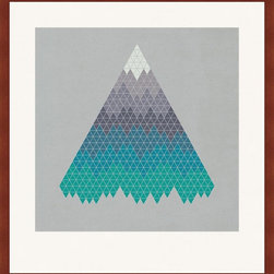 Mantle Art Company - Framed Paper Cranes Architectural Art - This geometric print is designed by a UK artist and custom framed in a solid wood frame and a bright white mat board. Framed in a gallery style with a weighted mat board on the bottom, this piece will look great hung on a wall or resting on a dresser, shelf, or credenza.