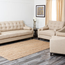 Abbyson Living - Abbyson Living Alexandria 3-piece Fabric Sofa Set - The gorgeous cream linen fabric upholstery of the Alexandria three-piece furniture set,presents a very comfortable and classic design. This living room set also highlights a durable frame constructed out of kiln-dried hardwoods.