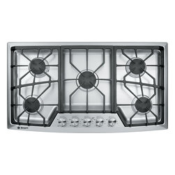 """GE Monogram gas cooktop - Monogram stainless steel gas cooktops master the art of precision with complete simmer-to-boil flexibility on all dual-flame, stacked burners. The 36"""" model provides a total of 62,000 BTUs, and the 30"""" model offers 50,000 BTUs."""