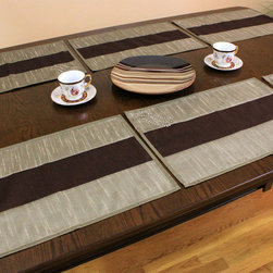 Sophisticated Two-Tone Embroidered Placemats, Set of 6 (Brown) - Create a unique look for your home with gorgeous and modern placemats with exclusive style.