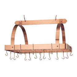Old Dutch International - 30 in. Pot Rack in Satin Copper - Includes grid, twenty four hooks, two 6 in. extension hooks for hanging and mounting hardware. Hanging pot rack. Made from heavy gauge copper plated steel. Rectangular shape. 30 in. L x 20.5 in. W x 16 in. H (34.8 lbs.). Minimal assembly required