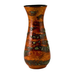 Lavish Shoestring - Consigned Red Lava Glaze Baluster Shaped Flower Vase, Vintage European - This is a vintage one-of-a-kind item.
