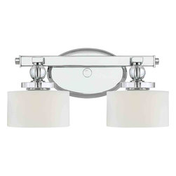 Quoizel Lighting - Quoizel DW8602C Downtown Polished Chrome 2 Light Vanity - 2, 60W Frosted G9 Halogen, Bulbs Included