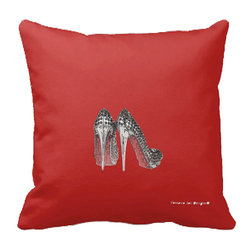 Tomova Jai Designs - High Glam Sparkle Heels Decorative Pillow, Red - Sparkling stilettos is just what you need to add a touch of glam to your home.
