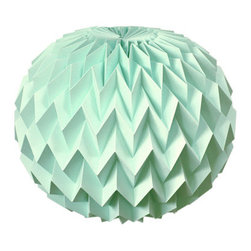 Hanging Decorative Folded Paper Bubble Ball, Mint by Fiber Lab - Who knew folded paper could be this beautiful? Wouldn't this look spectacular at a baby shower or in a nursery?