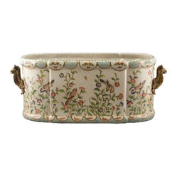 Oriental Danny - Porcelain Basin Centerpiece - Turn your kitchen herb garden into an artful display with this hand-painted porcelain basin. Colorful birds balance on delicate branches highlighted with flower blooms. Bronze ormolu handles add the final golden touch.