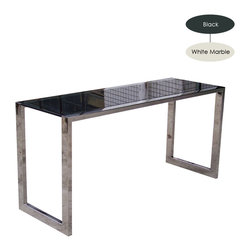 Nuevo Living - Jet Desk, Black Glass/Small - Stainless steel frame