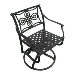 Vienna Cast Aluminum Swivel Rocking Chair - Relax in comfort and style while sitting in the Vienna Cast Aluminum Swivel Rocking Chair. The ornate design on the backrest as well as a swivel and rocking feature make this a prime choice for outdoor seating.