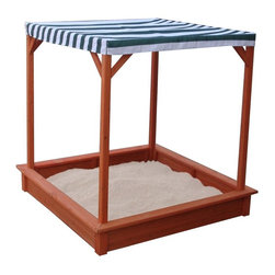 Sun Shade Wooden Sandbox With Canopy - This durable wooden sandbox is outfitted with an overhead canopy to block the sun's rays and maximize outdoor playtime.
