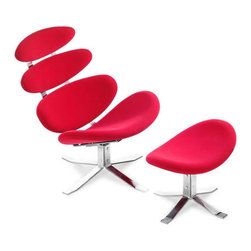 Vertebrae Lounge Chair & Ottoman in Red - Bring some fun back into your space. Upholstered with touchable and soft velour microfiber on top of a solid steel chrome frame, this swivel lounge chair and ottoman has a whimsical look and contemporary character. Eye-catching in red, the seat is sure to up the style and fun in any reading nook, entertainment lounge, or living room.
