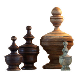 Wooden Finial Boxes - Set of 6 - Finials add a salvaged aesthetic of nobility to your home, their upright silhouettes a message of bygone days amongst high gates and aristocratic grandeur. These antiqued Wooden Finial Boxes combine that sought-after designer look with the appeal of small secret compartments that allow small necessities of gracious living to be stowed out of sight.