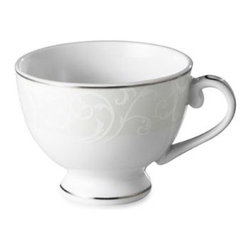 Mikasa - Mikasa Parchment Modern 10-Ounce Teacup - Parchment Modern is an updated twist on a classic design. A traditional scroll border flows slightly from the rim and into the center of each piece for an eye-catching element that will look stunning on any tabletop.