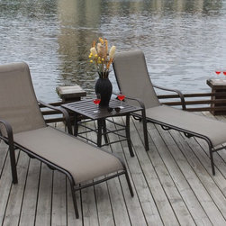 Bellini - Canberra 3-piece Chaise Patio Furniture Set - The aluminum frames on all pieces are rust- and weather-resistant and everything features a powder-coated Mocha textured finish. The Canberra collection three-piece patio furniture set is impressive highlighting cast decorative features.