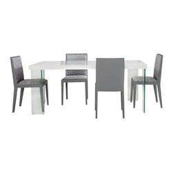 Armen Living - Armen Living Rio 5 Piece Gray & White Dining Set - AA693 - Shop for Dining Sets from Hayneedle.com! Give your dining room a cool collected look with the Armen Living Rio 5 Piece Gray & White Dining Set. The table features tempered glass legs and a white lacquer top that seemingly floats on air. The four side chairs feature a sleek metal base in gray beautifully complementing the gray upholstery. An optional buffet finishes the look providing storage and elegance. The perfect way to complete your dining room in a snap.About Armen LivingImagine furniture without limits - youthful robust refined exuding self-expression at every angle. These are the tenets Armen Living's designers abide by when creating their modern furniture collections. Building on more than 30 years of industry experience Armen Living combines functional versatility and expert craftsmanship into their dramatic furniture styles all offered at price points fit for discriminating budgets. Product categories include bar stools club chairs dining tables ottomans sofas and more. Armen Living is based in Sun Valley Calif.