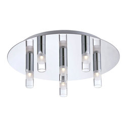 Eurofase - Cube Flushmount - Cube Flushmount features a clear frosted glass shade with a chrome finish. LED module with six 2.3 watt, 120 volt LEDs included. Lamp temperature 3200K, 858 lumens. Dimensions: 13.75W x 4.5H.