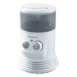 Kaz Inc - Honeywell 360 Ceramic Surround heater White - KAZ Ceramic Surround Heat Heater - White. Surround Heat with all around heat output.  180 degrees feature for directional heating.  Easy to use manual controls.  Safety Tip - 360 degrees tip over protection.  Conventional Cool Touch carry handle.  2 heat settings.  Adjustable thermostat.  3 year limited warranty.