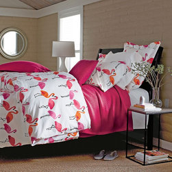 Flamingo Percale Comforter Cover - Flamingoes are on trend right now — stay ahead of the curve with this fun and tropical bedding!