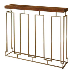 Global Views - Pinned Key Console Table - Small solid teak console table with antique nickel plated iron base.