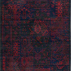 "Momeni - Momeni Vintage VIN-5 (Raspberry) 9'10"" x 12'6"" Rug - Meant to emulate the over-dyed and patchwork handknotted rugs that are so popular today, Vintage interprets this look in a power-loomed quality with hand-sheared finishing that gives each design the look of a distressed, antiqued piece. Made of 100% NZ Wool. Due to the hand sheering of this product and in order to enhance the beauty of this collection each piece may vary slightly."