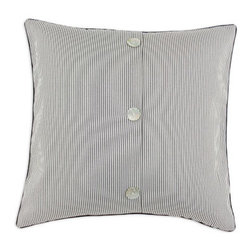 Pearl Buttoned Pillow - This pillow promises a mesmerizing look for any space. Designed with a corded fabric with contrasting backing, the pillow also features three pearl buttons for a luminescent accent. Made in Iowa.