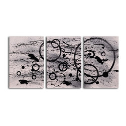 """My Art Outlet - Hand Painted """"Black on white expression"""" 3 Piece Set Oil Painting - Size: 24"""" x 48"""" (16"""" x 24"""" x 3pc). Enjoy a 100% Hand Painted Wall Art made with oil paints on canvas stretched over a 1"""" thick wooden frame. The painting is gallery wrapped and ready to hang out of the box. A very stylish addition to any room that is sure to get the attention of guests."""