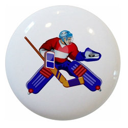 Carolina Hardware and Decor, LLC - Goalie Hockey Player Ceramic Knob - 1 1/2 inch white ceramic knob with one inch mounting hardware included.  Great as a cabinet, drawer, or furniture knob.  Adds a nice finishing touch to any room!