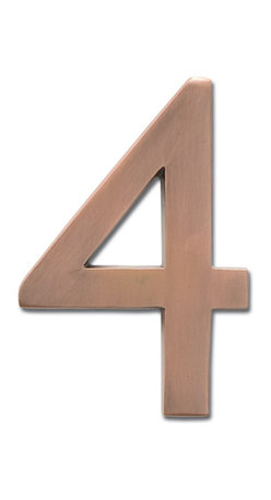 """Architectural Mailboxes - 5"""" Floating House Number Antique Copper """"4"""" - The�Solid Cast Brass 5"""" Floating House Numbers�offer four classically elegant�finishes - antique brass, antique copper, satin nickel, and dark aged copper. Each house number is hand finished in a premium metallic finish. They can be mounted either flush with the wall or you can leave the mounting screws partially out of the holes for a floating number effect. No holes or unsightly screw heads are shown. The House Numbers compliment  Peninsula Mailboxes, Metropolis Mailboxes and the brass accents on Coronado Mailboxes.  Includes installation instructions and hardware."""