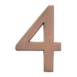 "Architectural Mailboxes - 5"" Floating House Number Antique Copper ""4"" - The�Solid Cast Brass 5"" Floating House Numbers�offer four classically elegant�finishes - antique brass, antique copper, satin nickel, and dark aged copper. Each house number is hand finished in a premium metallic finish. They can be mounted either flush with the wall or you can leave the mounting screws partially out of the holes for a floating number effect. No holes or unsightly screw heads are shown. The House Numbers compliment  Peninsula Mailboxes, Metropolis Mailboxes and the brass accents on Coronado Mailboxes.  Includes installation instructions and hardware."